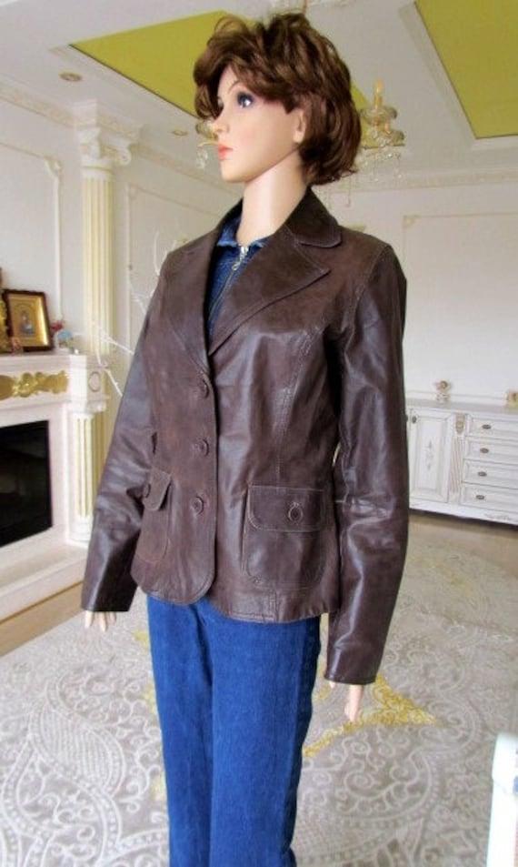 womens Leather blazer 70s retro blazer womens Lea… - image 4