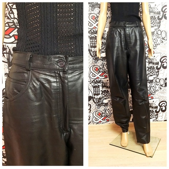 Leather Clothing womens Leather pants M black Leat