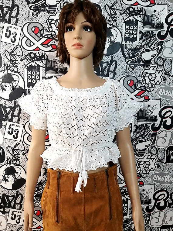 White Crop Top dirndl top  bavarian top Dirndl Blo