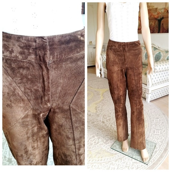 Brown Leather pants suede pants cowgirl Clothing w