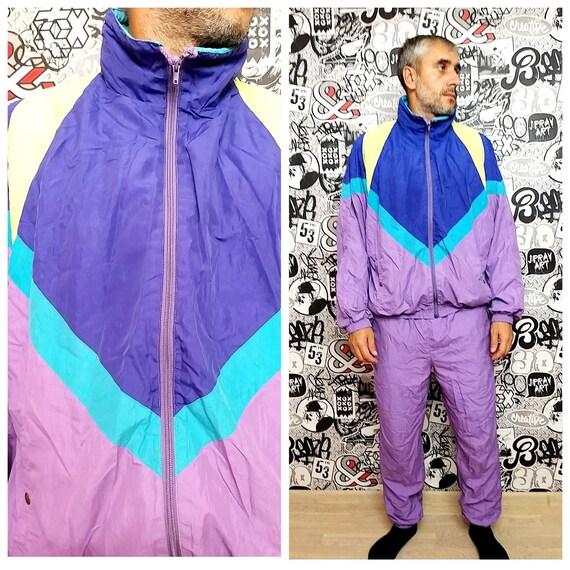 90s purple track suit XL Mens track suit colorful