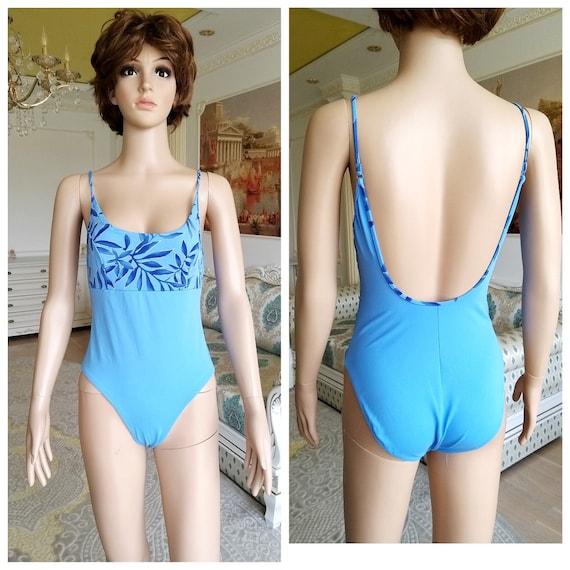 women Swimwear Vintage floral swimsuits 90s  blue