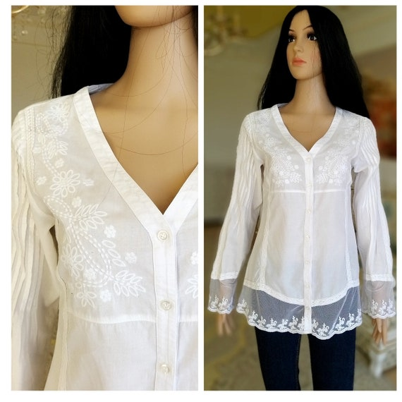 80s embroidery white blouse Victorian Clothing Vi… - image 1