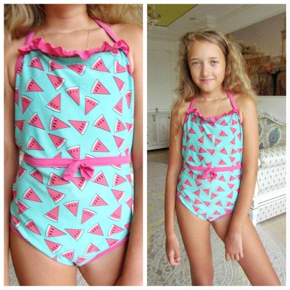 girl Swimwear Vintage girl swimsuits 90s watermelo