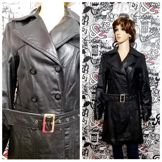 BLACK Leather trench vintage womens Leather Cloth… - image 1