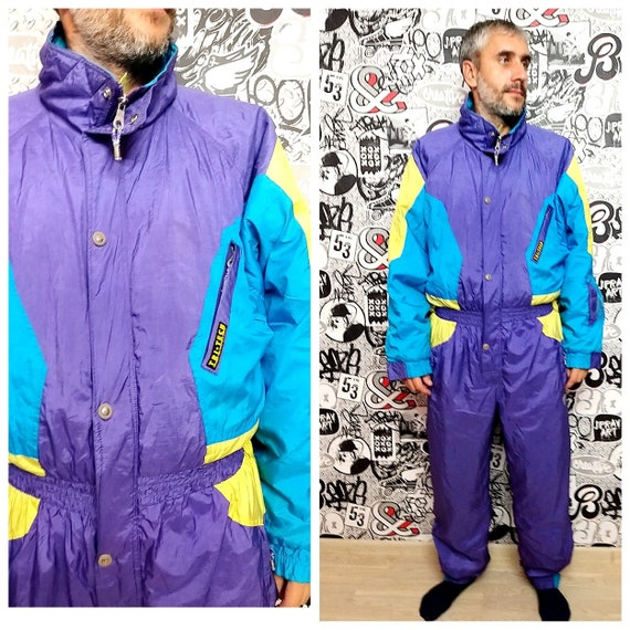 Unisex Adult Clothing Vintage men ski suit XL Purp