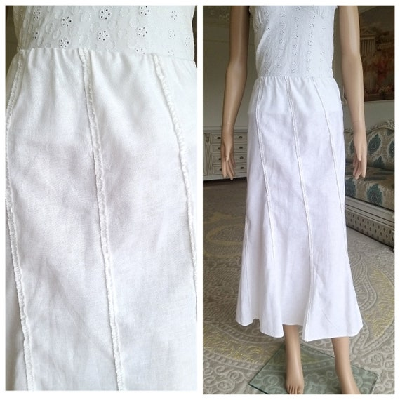 White Linen skirt womens white long skirt White sk