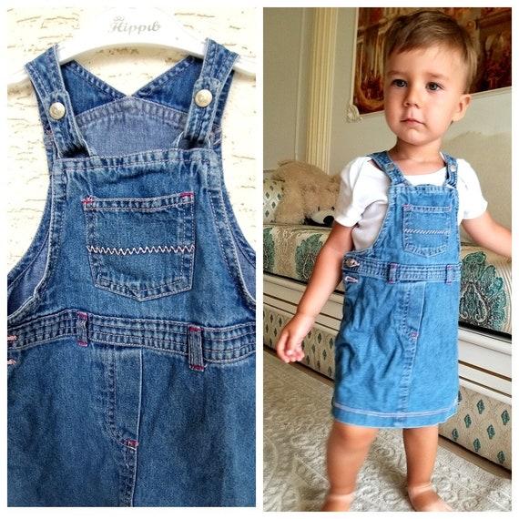 12-18 months denim girls dress embroidered dress … - image 1