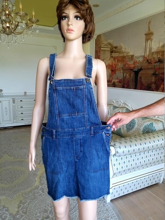 apron dress XL Denim skirt jean skirt Denim Pinaf… - image 4