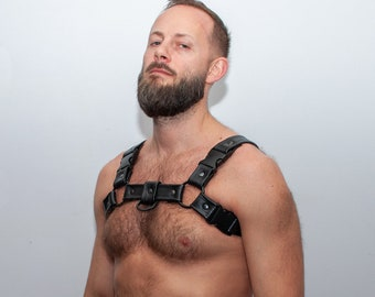 Mens Leather /'H/' Bulldog HARNESS GAY Leather gray green,blue adjustable straps