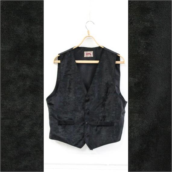 Black velvet men vest, Black velvet vintage waistc
