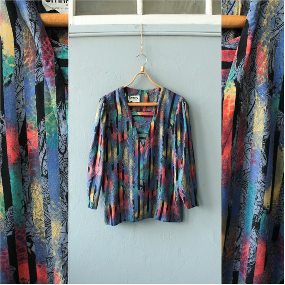 Psychedelic print top, Colorful long sleeve blouse
