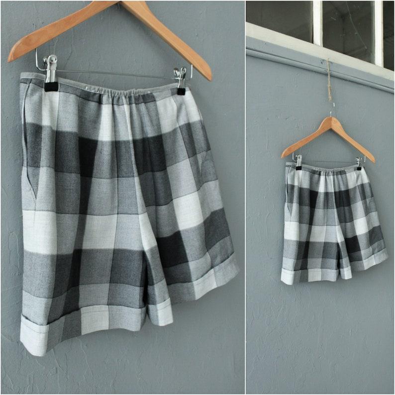 Vintage grey Minimalist shorts  Size Large W32 Gray checkered shorts