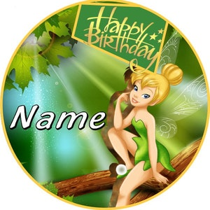 TINKERBELL glittery Personalized Children/'s birthday badge BIRTHDAY PARTY BAG