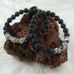 Earth Bracelet - Lava Rock Bracelet with Grey Agate Stones - Handmade In Iceland