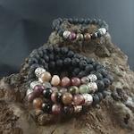 Icelandic Handmade Lava Bracelet With Natural Tourmaline Stones