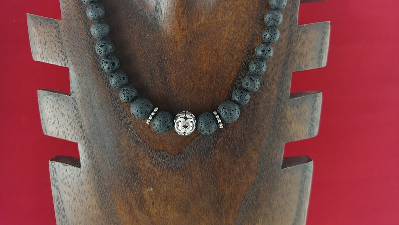 Lava Stone Necklace with Tibetan Silver Charm image 0