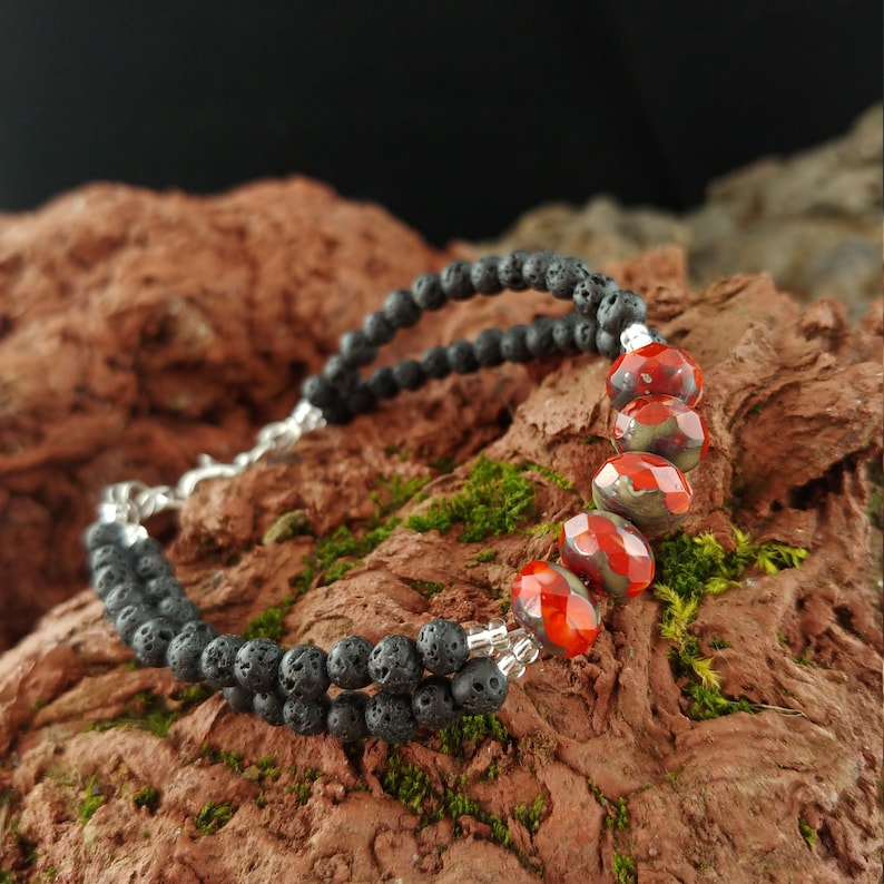 Fire Polished Terra Cotta and Lava Bracelet  Lava Rock image 0