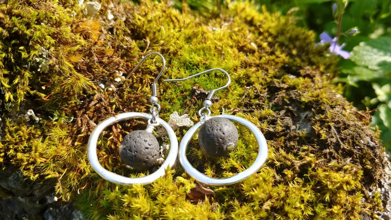 Circle Earrings with Lava Rock image 0