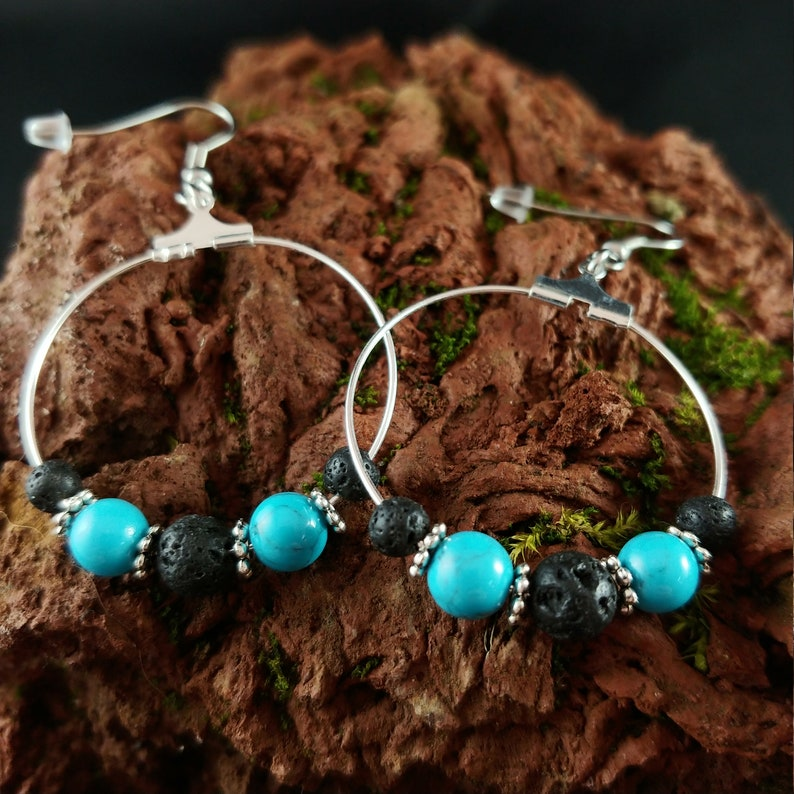 Blue Glacier Hoop Earrings image 0