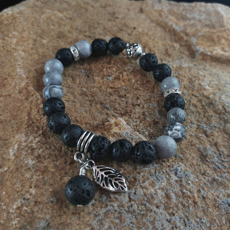 Gray Picasso Jasper Lava Bracelet with Lava and Feather Charm image 0