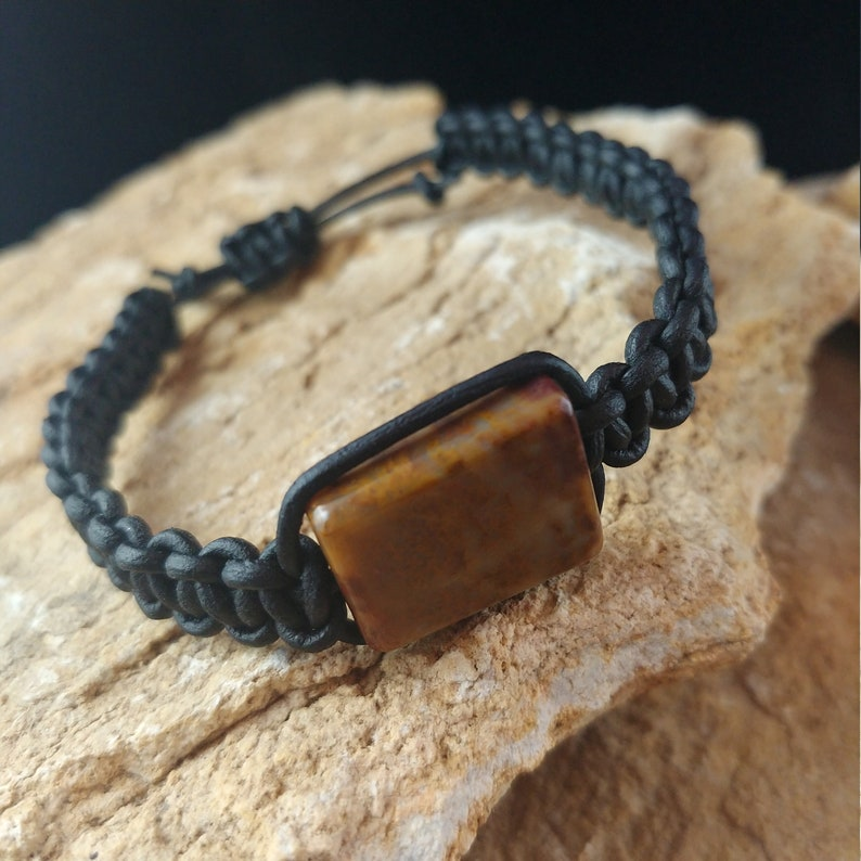 Leather Bracelet with Macrame Knots and Brown Jasper Stone image 0