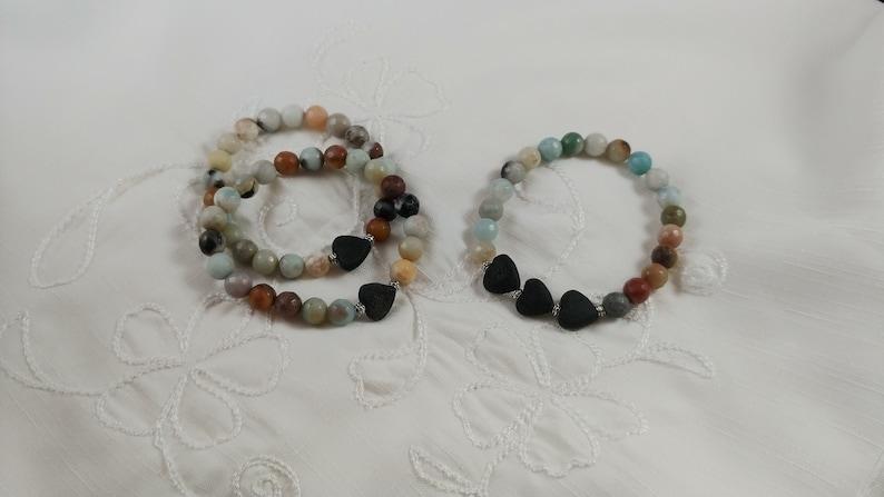 Amazonite Bracelet with Lava Heart image 0