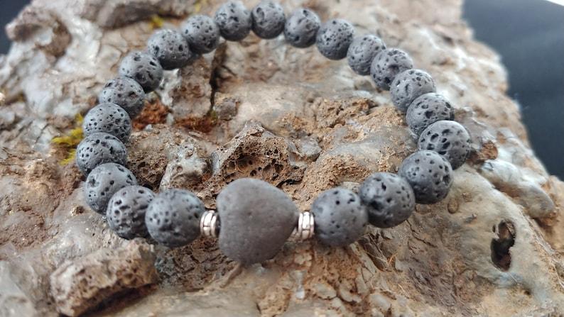 Lava Rock Bracelet with Lava Heart image 0