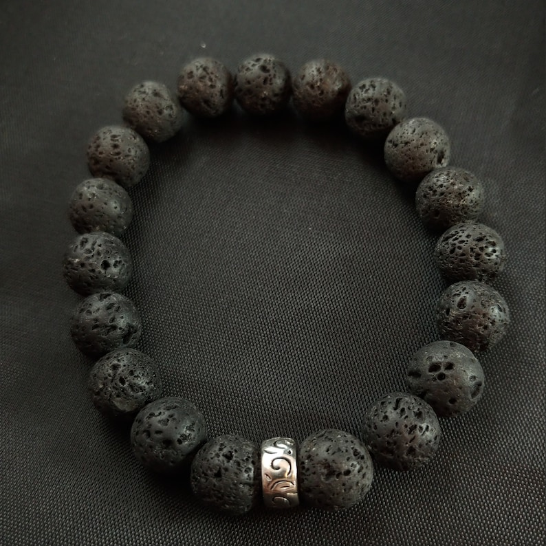 Plain Lava Bracelet with Beautiful Large 10mm Lava Beads image 0
