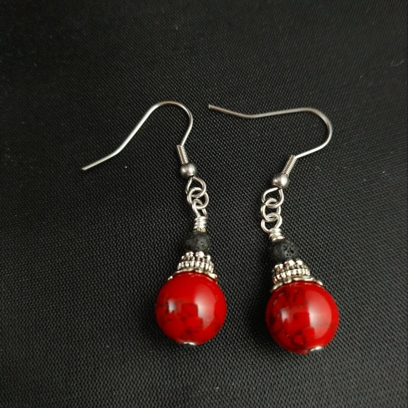 Dark Lava Earrings with 4mm Lava  Icelandic Handmade Jewelry image 0