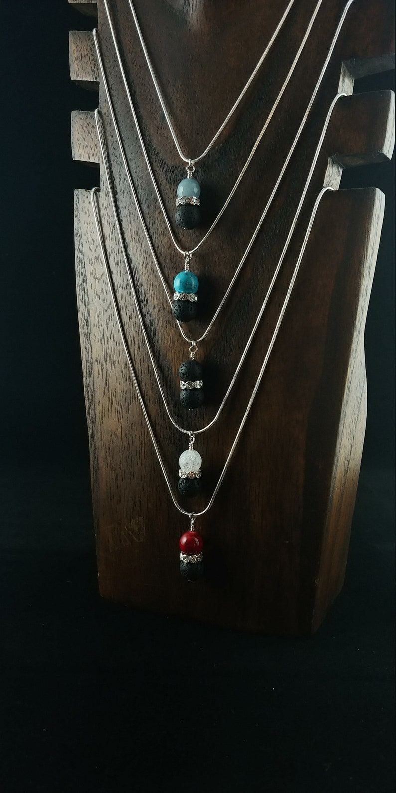 Necklace with 10mm Lava Stone  Crystal Rhinestone  Spacer image 0
