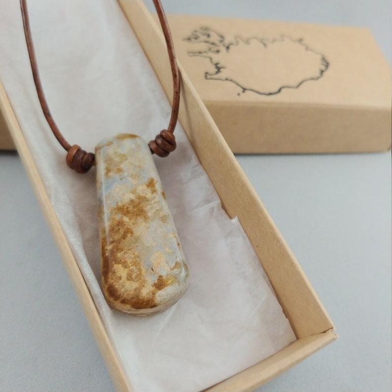 Polished Icelandic Rhyolite Rock Lava Necklace  limited image 0