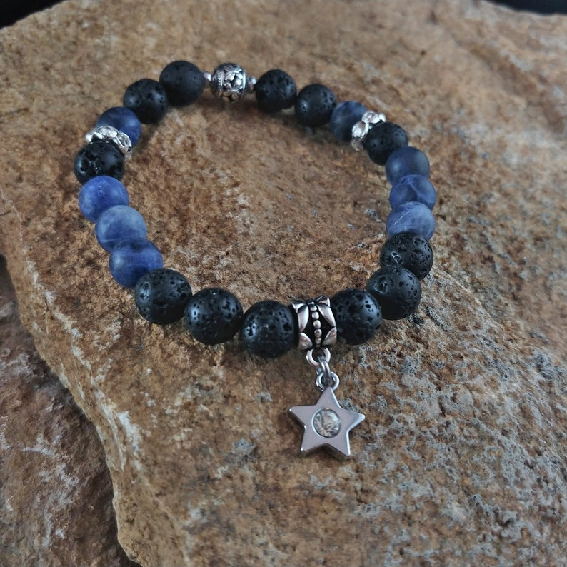 Blue Sodalite Lava Bracelet with Star Charm image 0