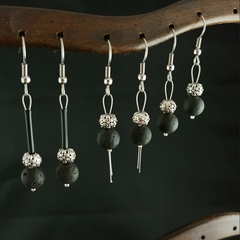 Lava Rock Reykjavik Earrings  3 Types  With Round Spacer image 0