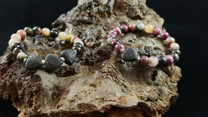 Natural Tourmaline Bracelet with Lava Hearts image 0