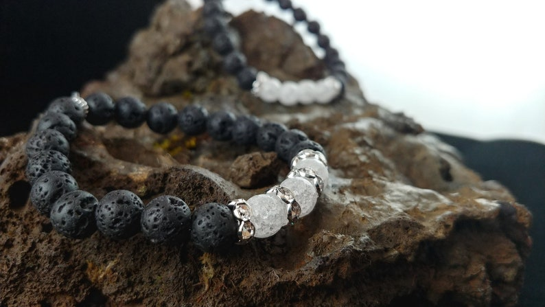 Ice Bracelet  Handmade Lava Bracelet with Crackle Crystal image 0