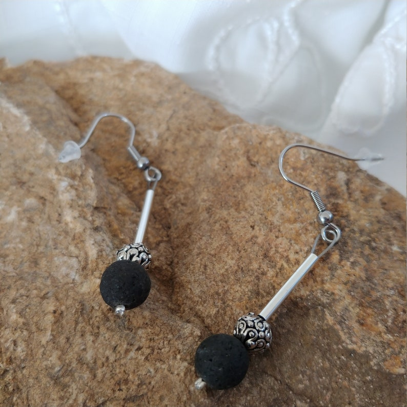 Lava Rock Silver Tube Earrings with Beautiful Round Spacer image 0