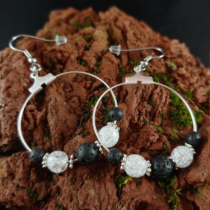 Ice Crystal Lava Hoop Earrings  Handmade in Iceland  Lava image 0