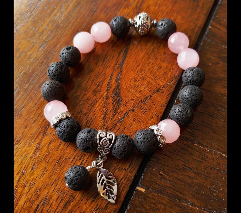 Lava and Natural Rose Quartz Gemstone Bracelet  Larger 10mm image 0