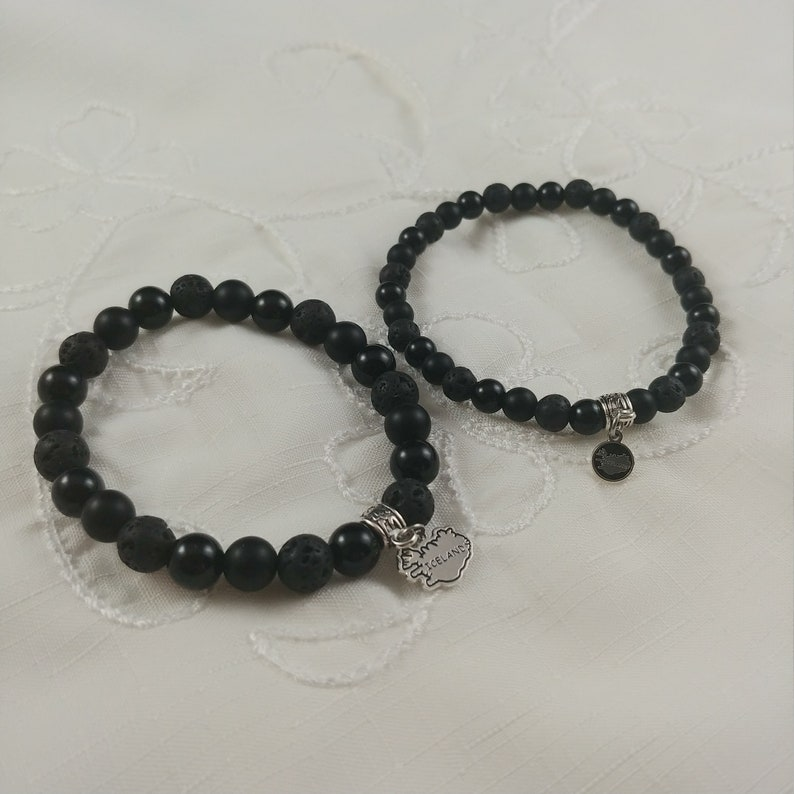 Lava and Onyx Bracelet with Iceland Charm  2 types image 0