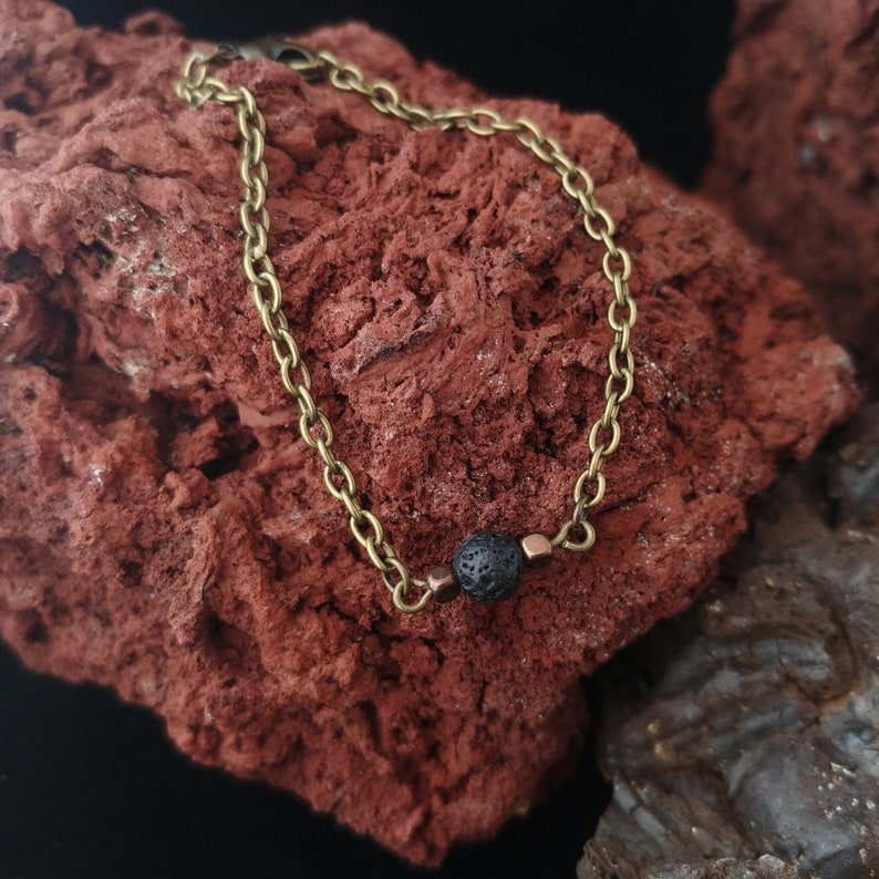 Old Gold Style Lava Chain Bracelet with Bronze Spacers image 0