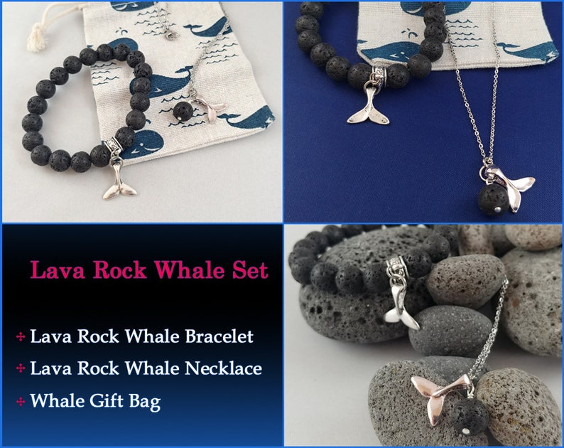 Whale Set  Lava Rock Whale Tail Bracelet  Lava Rock Whale image 0