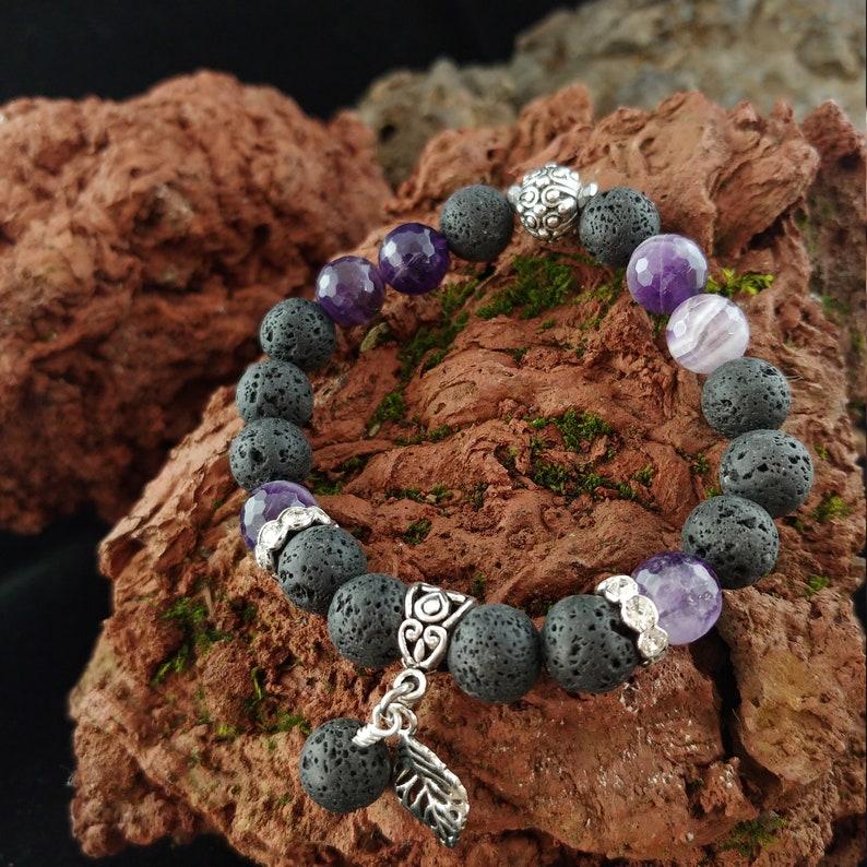 Lava and Amethyst Gemstone Bracelet  Larger 10mm Beads  image 0