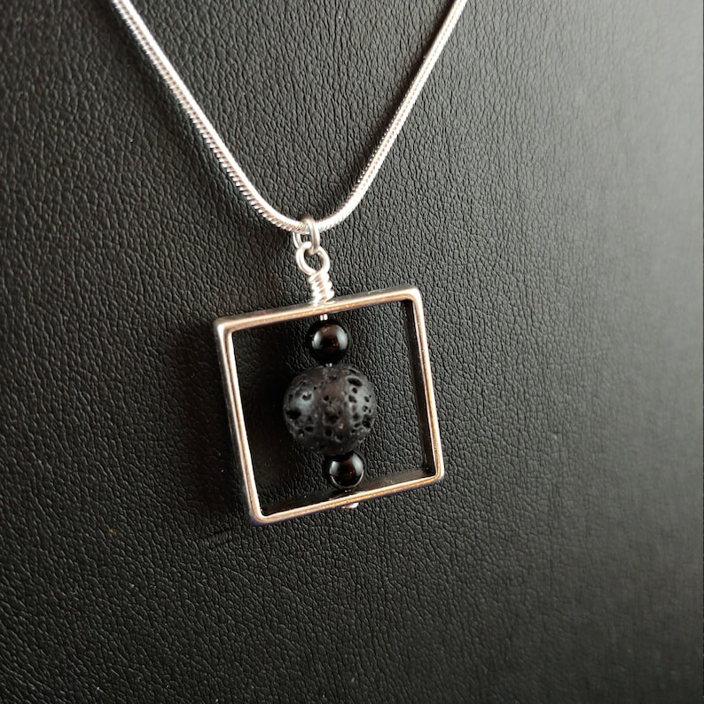 Square Necklace with Lava Rock image 0