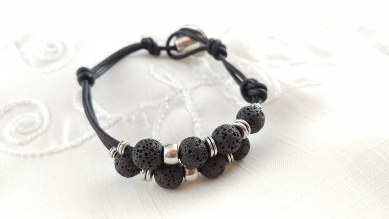 Leather Bracelet with Button Clasp and 8mm Lava Stones image 0