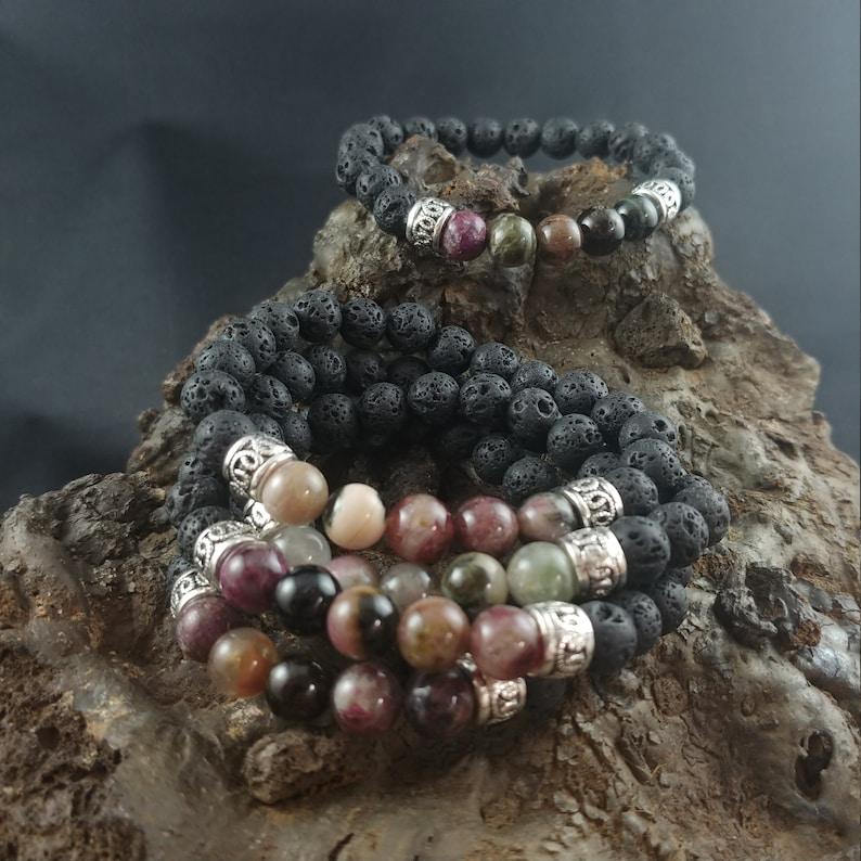 Icelandic Handmade Lava Bracelet With Natural Tourmaline image 0