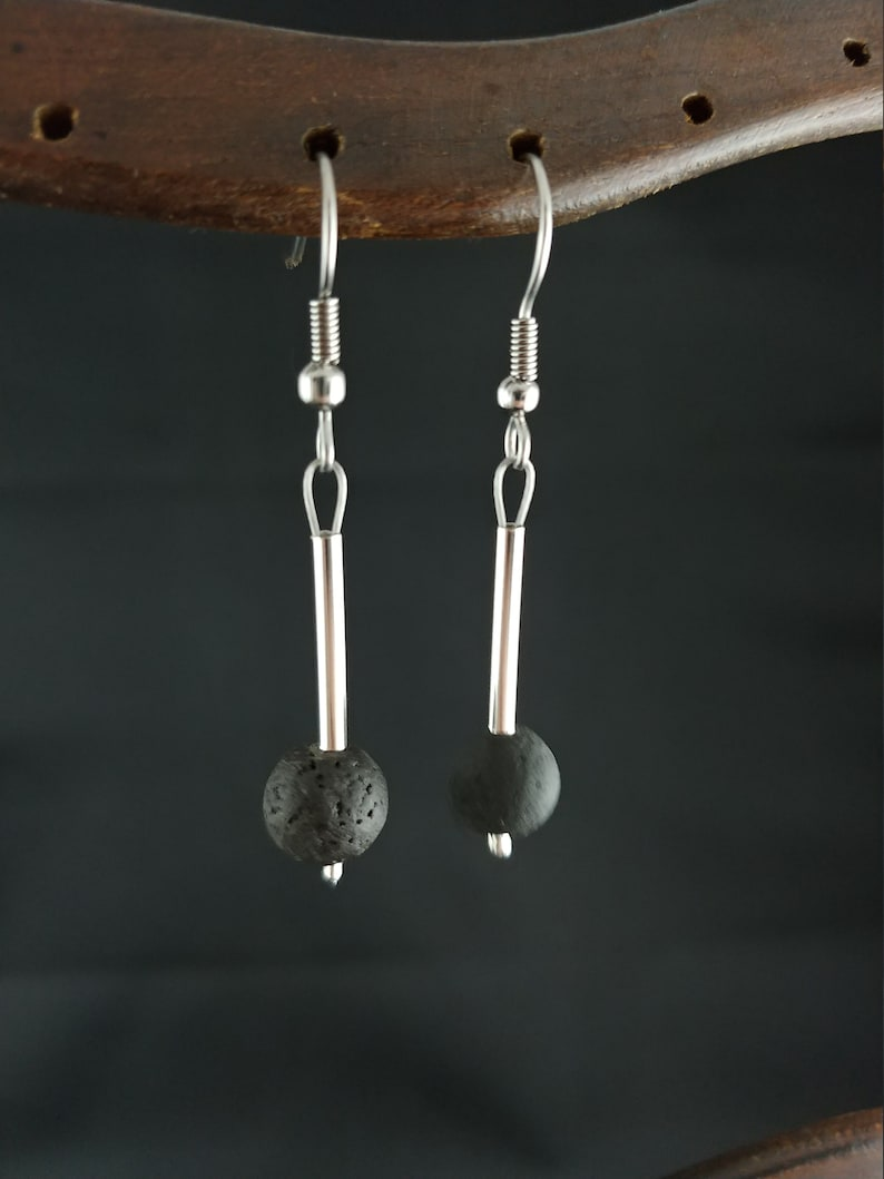 Polished Icelandic Lava Rock Earring with Silver Plated Tube image 0