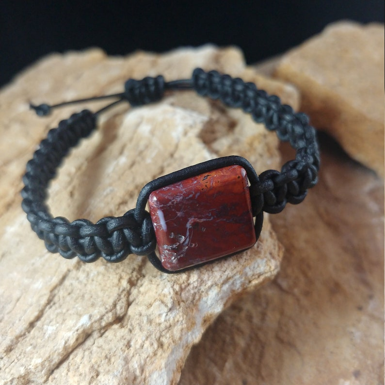 Leather Bracelet with Macrame Knots and Jasper Stone Center image 0