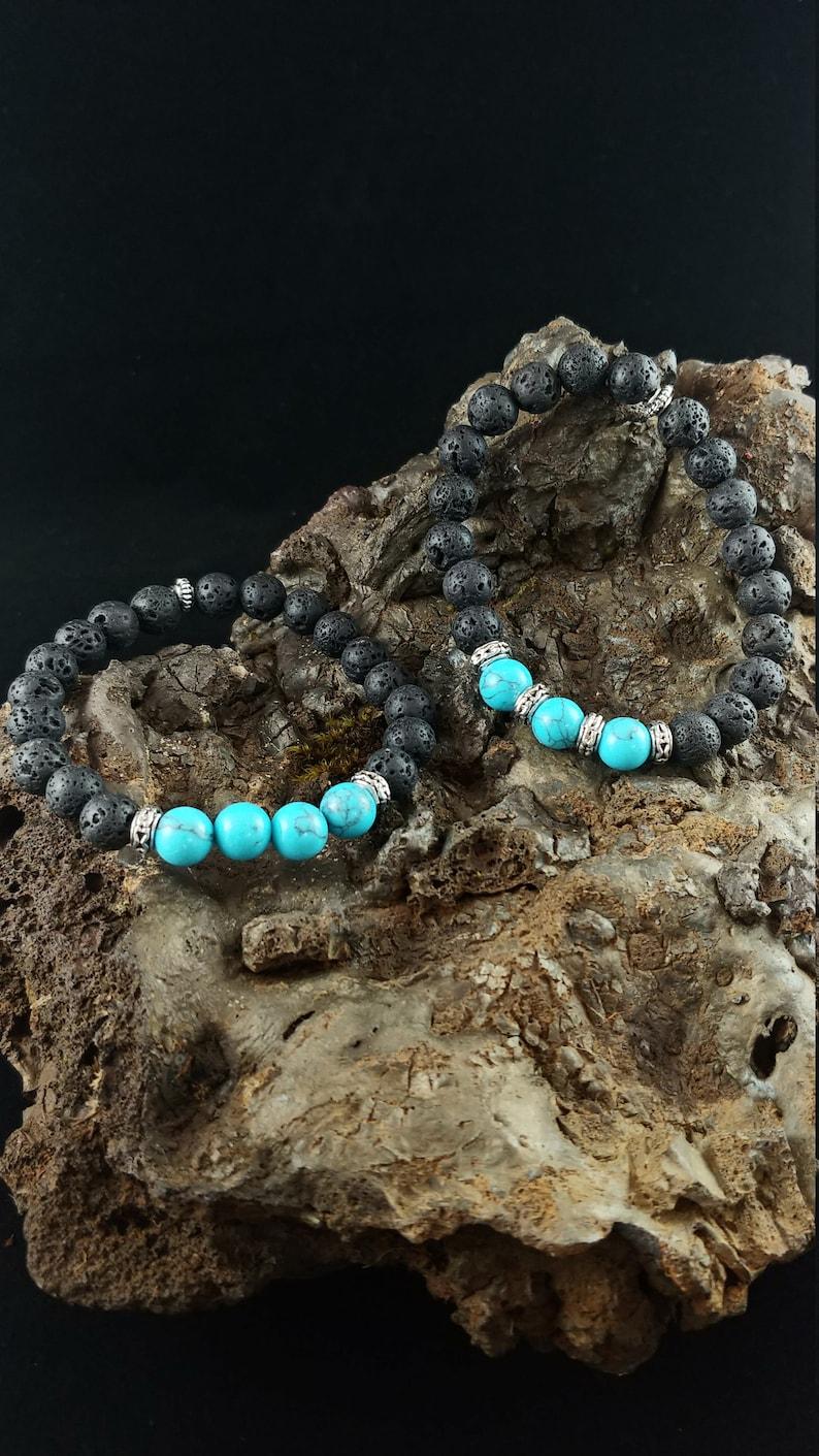 Sea Bracelet  Handmade Lava Bracelet with Dyed Turquoise Blue image 0