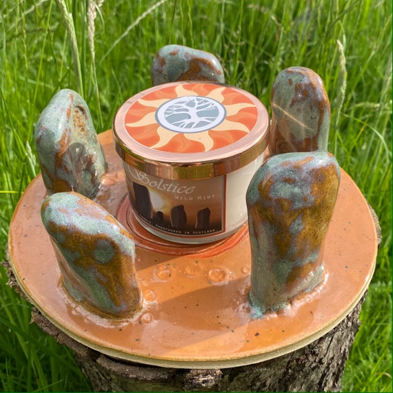 Ceramic Candle Holder with bespoke candle, 'Summer Solstice 21'